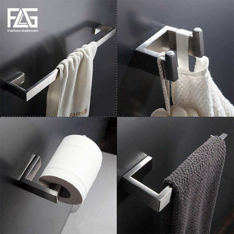 Flg 304 aço inoxidável acessórios do banheiro conjunto única barra de toalha, gancho da veste, suporte papel banho conjuntos ferragem
