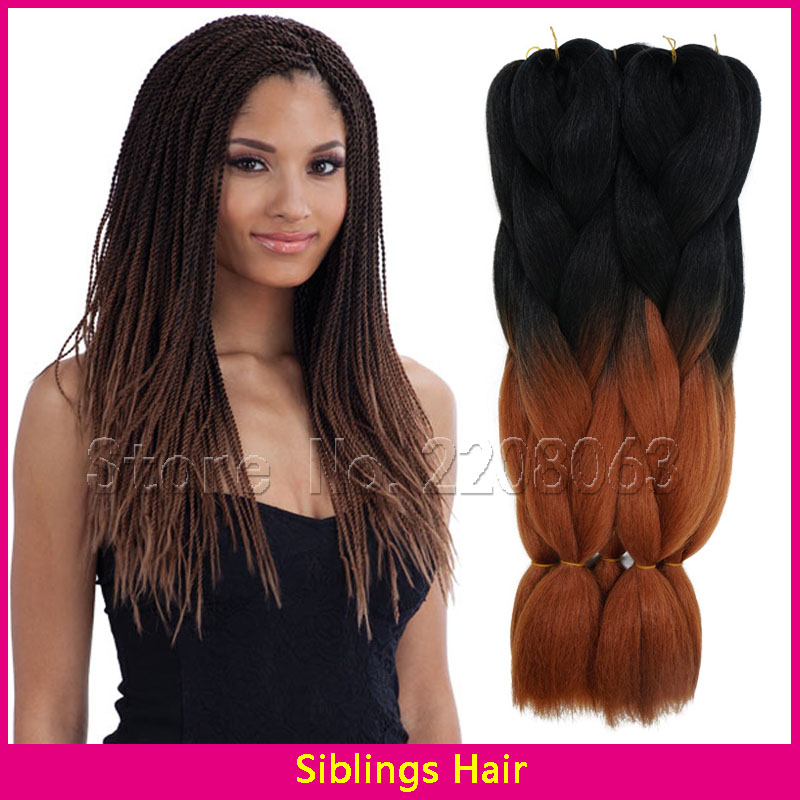 24 100g Ombre Kanekalon Dark Brown Jumbo Braiding Hair Colors