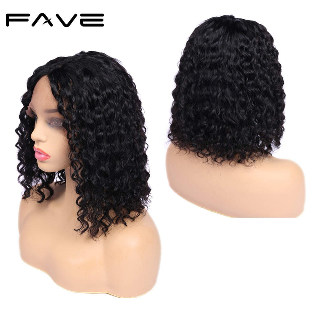 FAVE Short Bob Lace Front Human Hair Wigs Pre-Plucked 12 Inches Lace Middle Part Brazilian Remy Short Curly Wig For Black Women