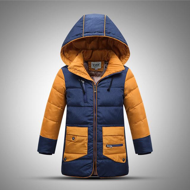 Niños bebés Abrigo de Invierno 2016 Nuevos Niños Chaquetas de Plumón de pato niños Chaquetas de Invierno para Niños Prendas de Vestir Exteriores Larga Niños Gruesa caliente chaquetas
