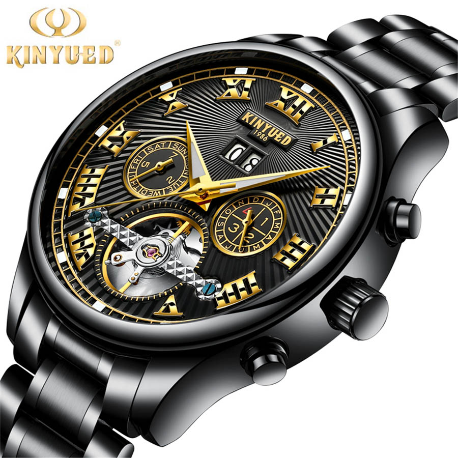 2017 KINYUED Mens Watches Top Brand Luxury Automatic Mechanical Watch Men Sport Waterproof Tourbillon Watch Relogio Masculino mce mens watches top brand luxury tourbillon men watches automatic mechanical watch fashion vintage clock relogio masculino
