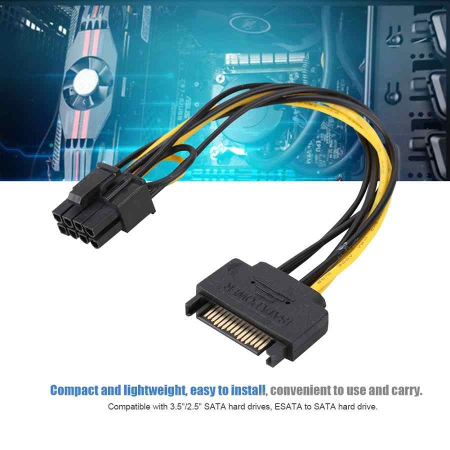 8Pin(6Pin+2Pin) to 15Pin SATA Male Graphics Card Power Supply Cable Line for Windows/LINUX PCI-E to SATA Cable