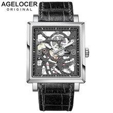 AGELOCER Swiss Design Sapphire Hollow Engraving Black Leather Square Skeleton Mechanical Watches Men Luxury Brand Heren Horloge