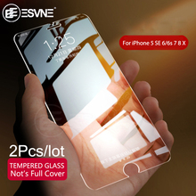 ESVNE 2Pcs/lot 2.5D HD Protection Glass For iPhone 5 5S SE 6 7 8 X Glass 6s 8 Plus Tempered Glass iPhone 6 Screen Protector Film 50pcs lot book style paper tempered glass retail packing box for iphone 6s plus 6 plus size 165 x 90mm green