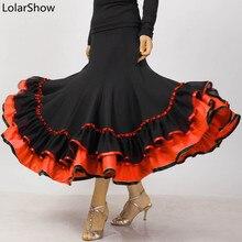 פלמנקו חצאית ריקוד תלבושות חצאית ארוך סלוניים מודרני סטנדרטי ואלס רקדנית שמלת ספרד ריקוד ביצועים