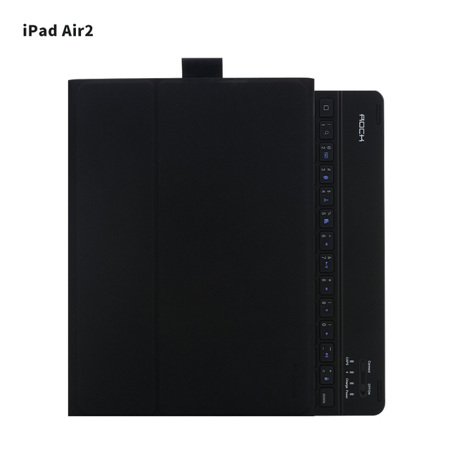 "For apple ipad air 2 9.7 "" Bluetooth Keyboard leather case ROCK leather Cover Protective Bluetooth Keyboard Case for ipad air2"
