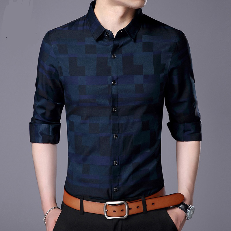 Thoshine Brand Spring Autumn Men Shirts Plaid Smart Casual Style Male Full Long Sleeve Fashion Shirt Breathable Camisa Outerwear