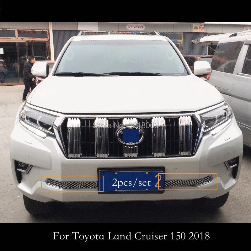 For 2018 Toyota LAND CRUISER PRADO 150 FJ150 Front Under Center Grille Grill Cover Trims ABS Chrome Car-Styling Accessories for toyota prado 2018 abs front center grille cover racing grill trim car protective decoration exterior styling accessory