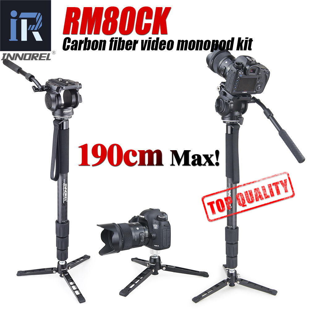 Kit de fibra de carbono Profissional monopé vídeo RM80CK com pan cabeça de vídeo fluido e titular unipod monopé base Top series qualidade