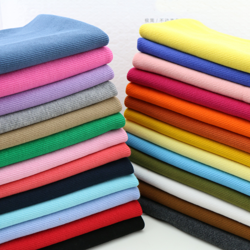20X 100cm Hot sale 2x2 Cotton knitted rib cuff fabric stretchy cotton fabric for  DIY sewing clothing making accessories fabric