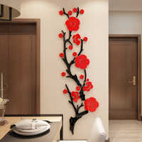 3D Acrylic Flower Wall Stickers Home Decor Stickers Living Room Dinning Room Wall Decor Chinese Style Wallpaper Plum Blossom