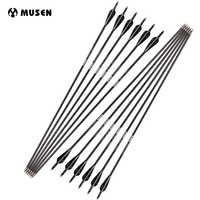 6/12/24pcs 28/30/32 inches Spine 350/500 Carbon Arrow with Black and White Color for Recurve/Compound Bows Archery Hunting