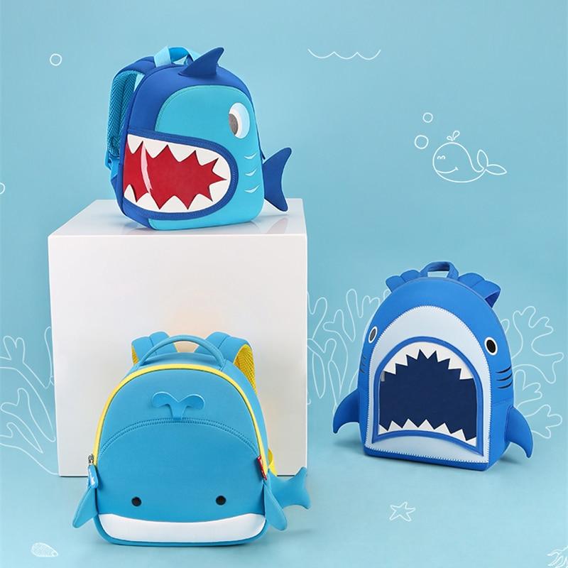 NOHOO Toddler Kids Shark Backpack 3D Waterproof Children Pre School Bags For Girls Boys Baby Travel Bookbag Mochila For 2-6 Year