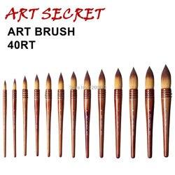 40RT высококачественные taklon волосы деревянная ручка художественная краска ing акварельные щетки для художественного рисования