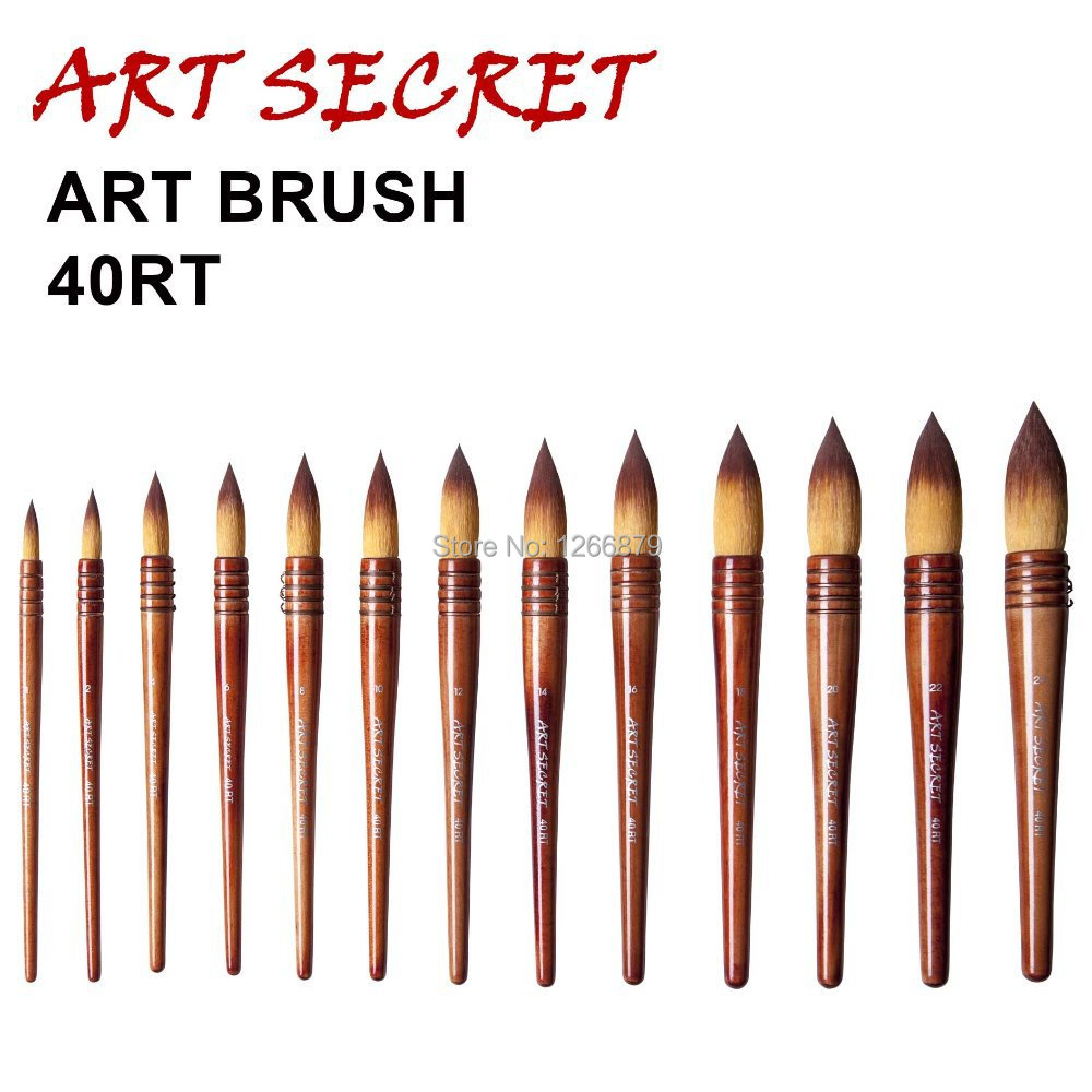 40RT High Quality Taklon Hair Wooden Handle Art Paint Painting Watercolor Brushes For Artistic Drawing