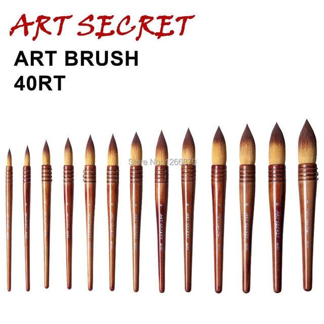 Cepillos de pintura de alta calidad de dos tonos taklon pelo de la acuarela pinceles de arte 40RT precio barato
