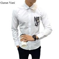 2017 Nieuwe Mode Mannen Shirt Lange Mouw Merk Kleding Kwaliteit Digitale Printing Shirt Mannen Casual Effen Kleur Mannelijke Shirt