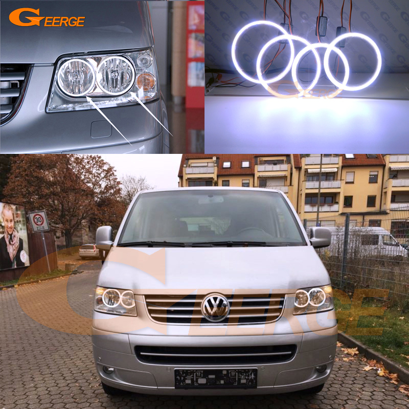 For Volkswagen VW Multivan T5 2003 2004 2005 2006 2007 2008 2009 Excellent Ultra bright illumination COB led angel eyes kit for alfa romeo 147 2005 2006 2007 2008 2009 2010 headlight ultra bright illumination cob led angel eyes kit halo rings