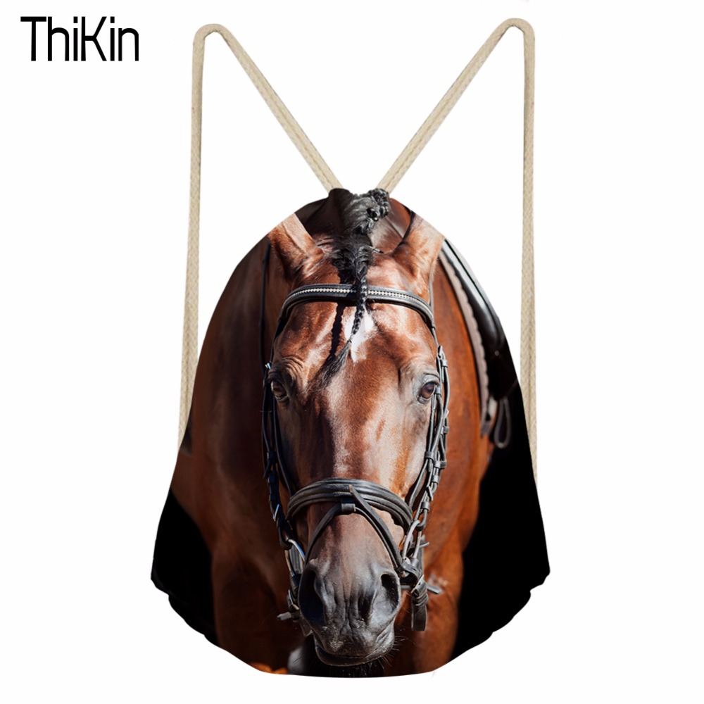 THIKIN Horse Animal Print Backpack Kids Boys School Bookbag Small Cinch Backpacks Casual Beach Sack Storage Package Rucksack New