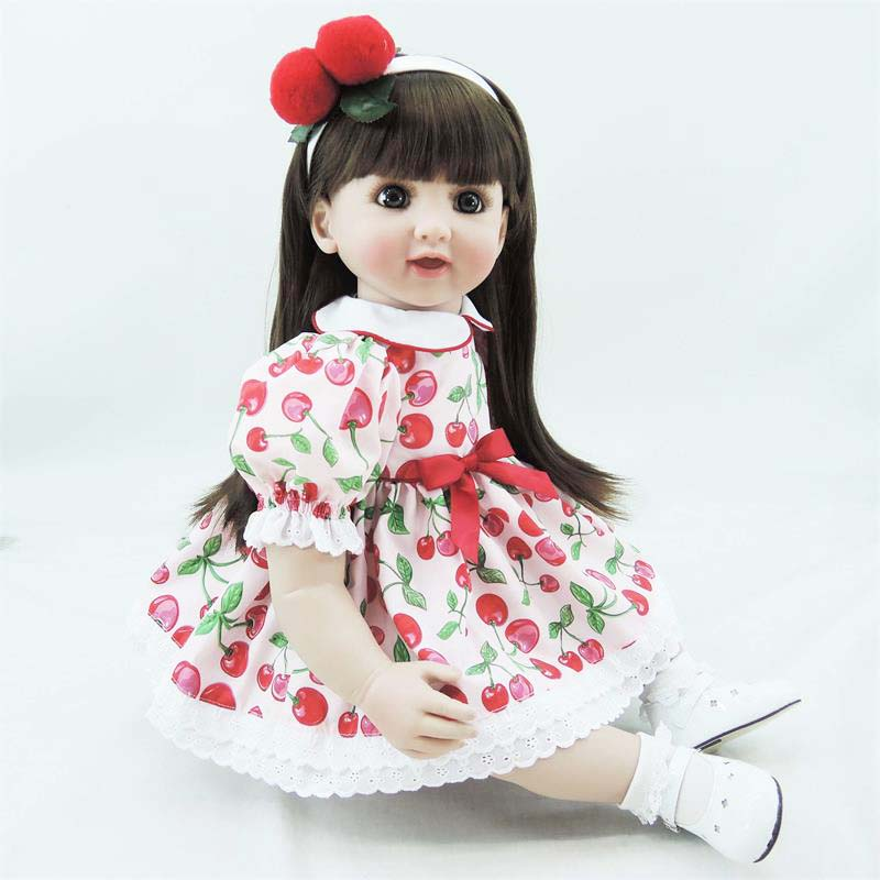 Pursue 24/60 cm Red Dress Vinyl Silicone Reborn Toddler Princess Girl Doll Toys for Children Girls Boy House Play Birthday Gift pursue 22 55cm realistic reborn babies girl doll silicone vinyl lifelike princess toddler doll toys for children girls birthday