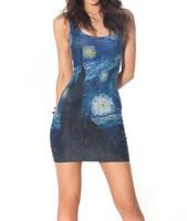 Lady Sexy Elastic Women Sleeveless Tennis Sports Dress Female Slim Sundress Vogue Geometric 3D Digital Print