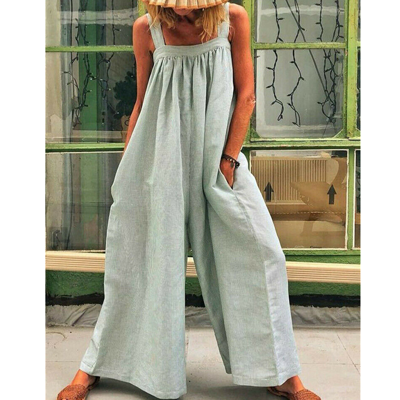 Women Loose Baggy Jumpsuit Dungarees Playsuit   Romper   Ladies Casual Wide Leg Trousers Summer Holiday Clothing