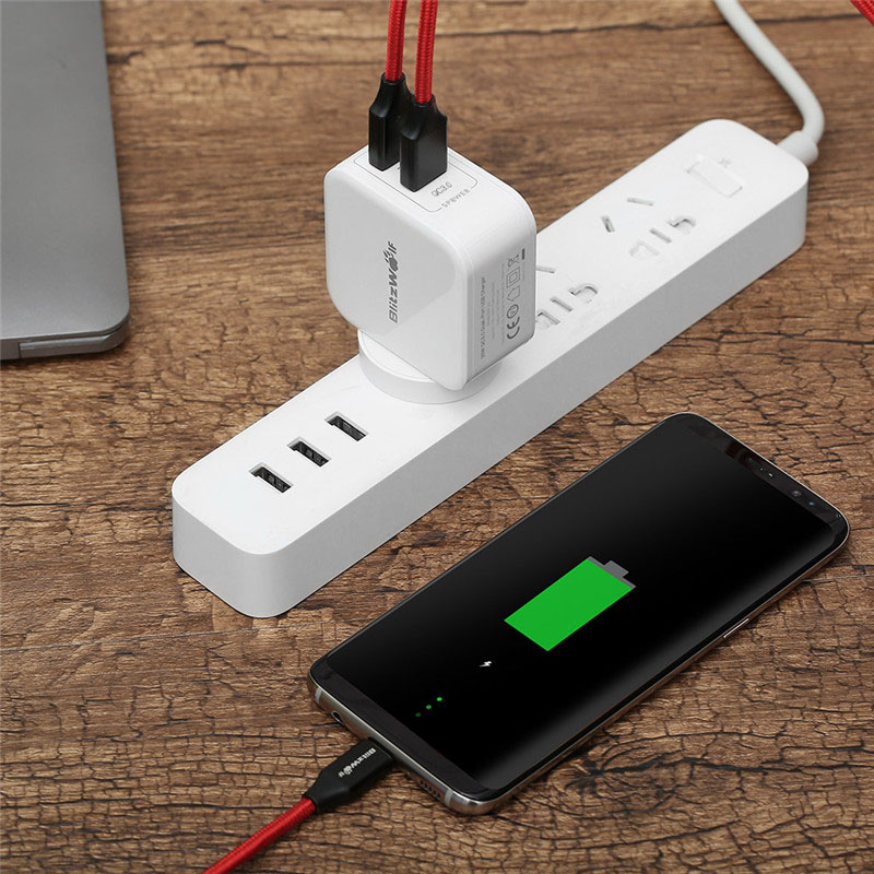 BlitzWolf 30W Dual USB Charger EU/AU Charger Adapter QC3.0+2.4A Travel Phone Charger For iphone 8 8 Plus For iphone X For Xiaomi