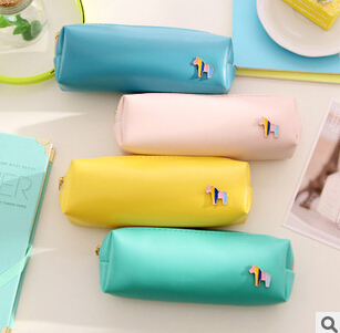 Fresh Style Candy Color Horse PU Leather Pencil Case Stationery Storage Bag Escalar Papelaria Escolar School Supplies