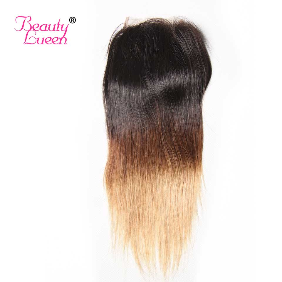 Ombre Brazilian Straight Hair Weave 3 Bundles With Closure T1B427 3 Tone Honey Blond Ombre Human Hair With Closure Remy Hair (37)