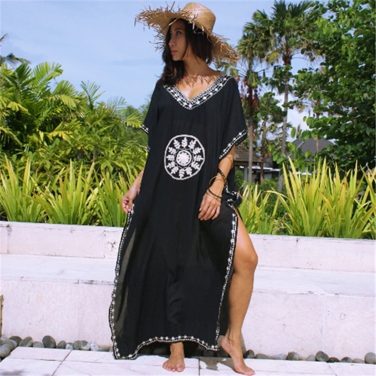 Beach Wear For Women Summer Dress Bathing Suit Cover Ups Tunic Women's Lace Up Cotton Embroidered Loose Big Yards Robes Female