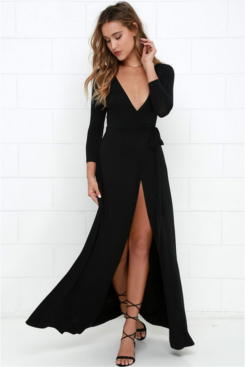 Sexy Deep V-neck Women Dress Autumn Winter Long Sleeve Split Night Dresses Sexy Club Long Maxi Dress Black Women Clothing YB030