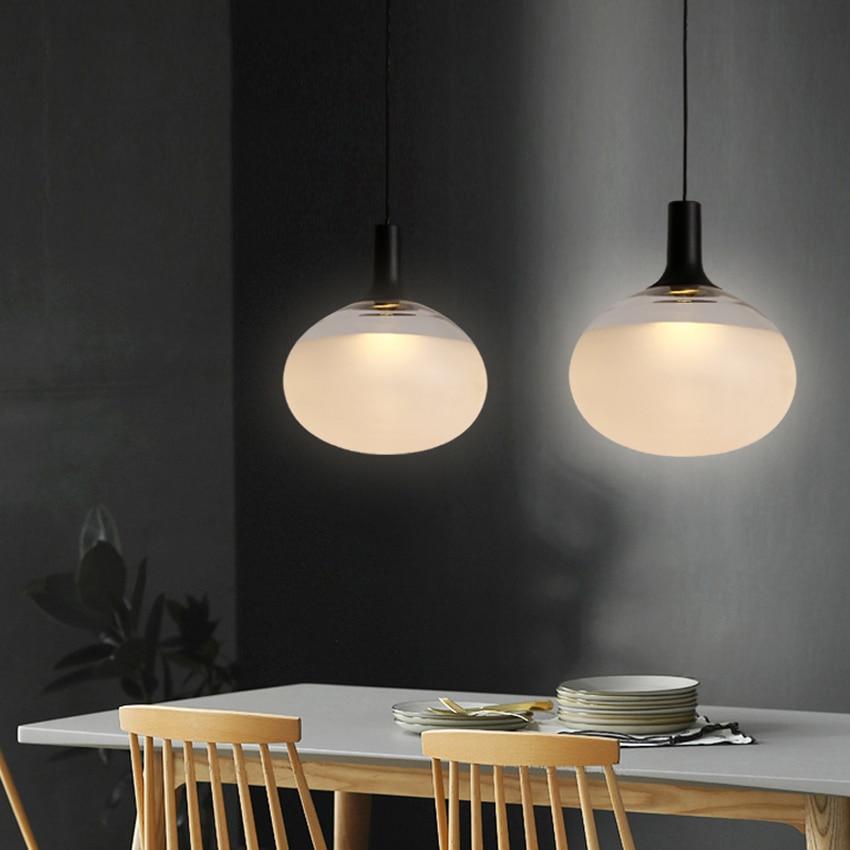 Post modern Oval Pendant Lights Nordic Designer Led Glass Hanging Lamps Dining Room Bedroom Bedside Kitchen Fixtures Luminaire Pendant Lights     - title=