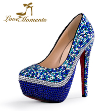Love Moments Handmade Custom Blue Wedding Shoes Ladies Bridal crystal High Heel with platform high thin