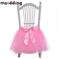 MEIDDING 1pcs Pink Chair Skirt Yarn Ribbon Cute Princess Baby Shower Wedding Decor Girl Birthday Party