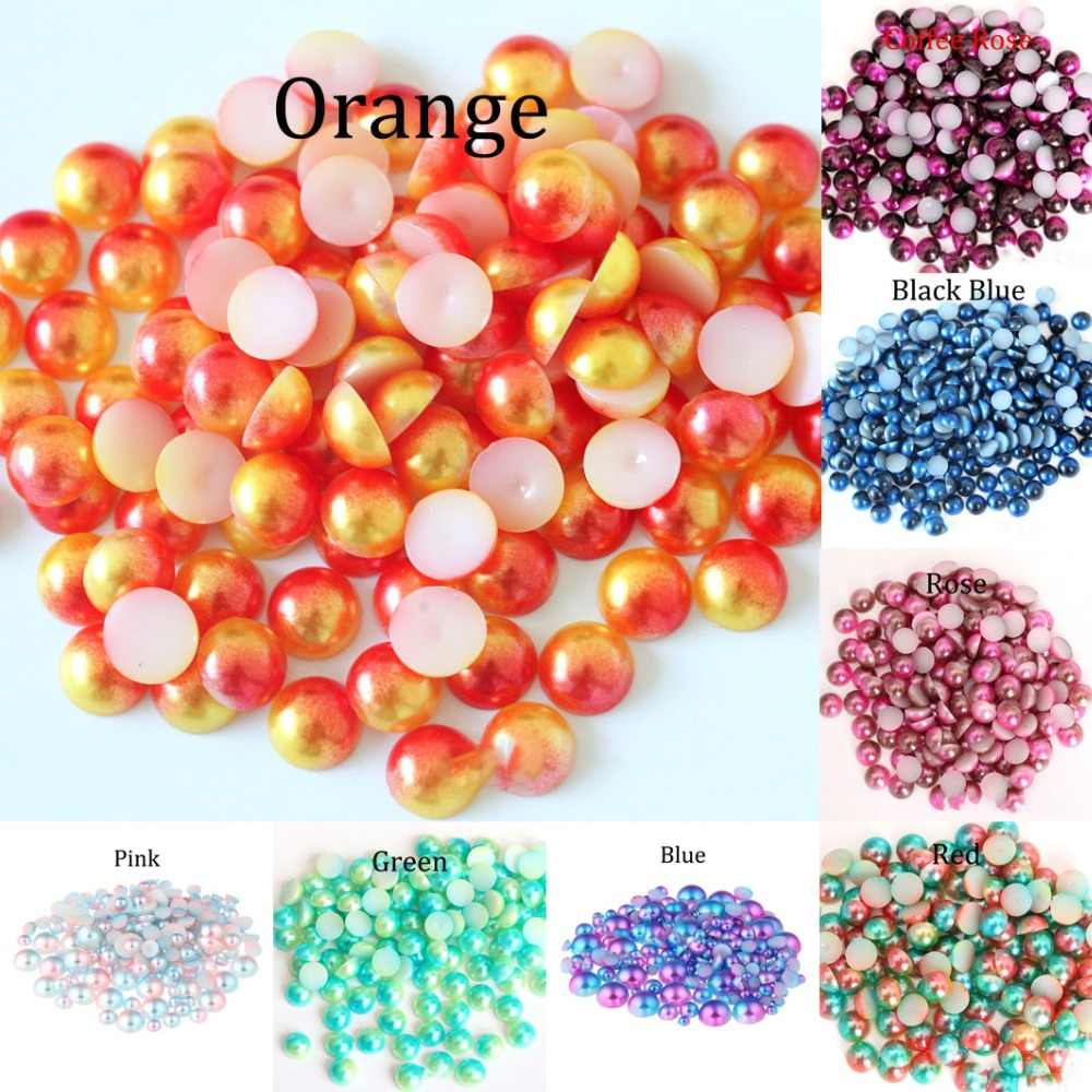 Rainbow Color Imitation Pearl Beads Flat Back4 5 6 8mm Cabochon Half Round Bead For Jewelry Making Women Nail Art DIY Accessory