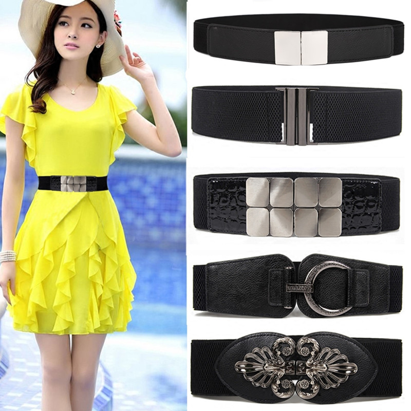 HOT Cummerbund For Women High Quality Cummerbunds Ladies Black Wide Strap Silver Buckle Elastic Band Fashion Waistband For Dress