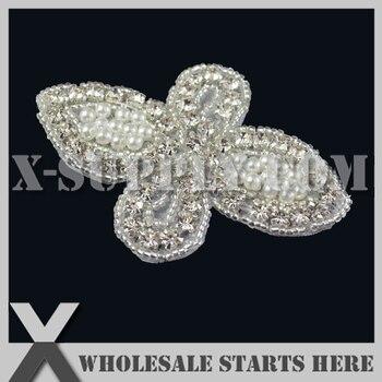 (8cm Length) Small Pearl Rhinestone Appliques for Wedding Dress,Headbands,X1-RAT2531