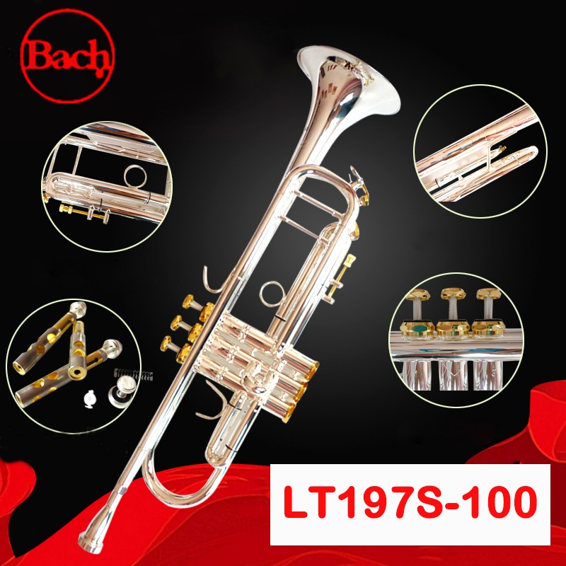 Musical Instruments Bach Trumpet Lt197s-100 Bb Gold Key Trompete Profissional Musical Brass Silver Plated Exquisite B Flat Trumpet With Mouthpiece Trumpet