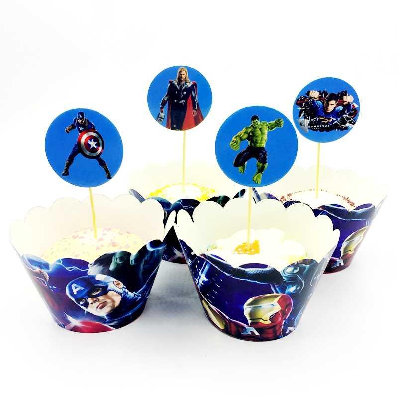 12 Pembungkus Cupcake 12 Cake Topper Super Hero Avengers Dekorasi Aksesoris Anak Pesta Ulang Tahun Kue Kue Wrap Paper Cup