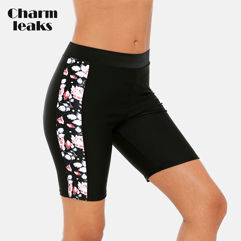Charmleaks Women Sport Swimming Trunks Ladies Bikini Bottom Swimwear Briefs Slim Flower Printed