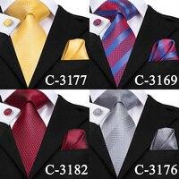 C-3129 Hi-Tie Luxury Silk Men Tie Gold Floral Dark Green Necktie Handkerchief Cufflinks Set Fashion Men's Party Wedding Tie Set 3