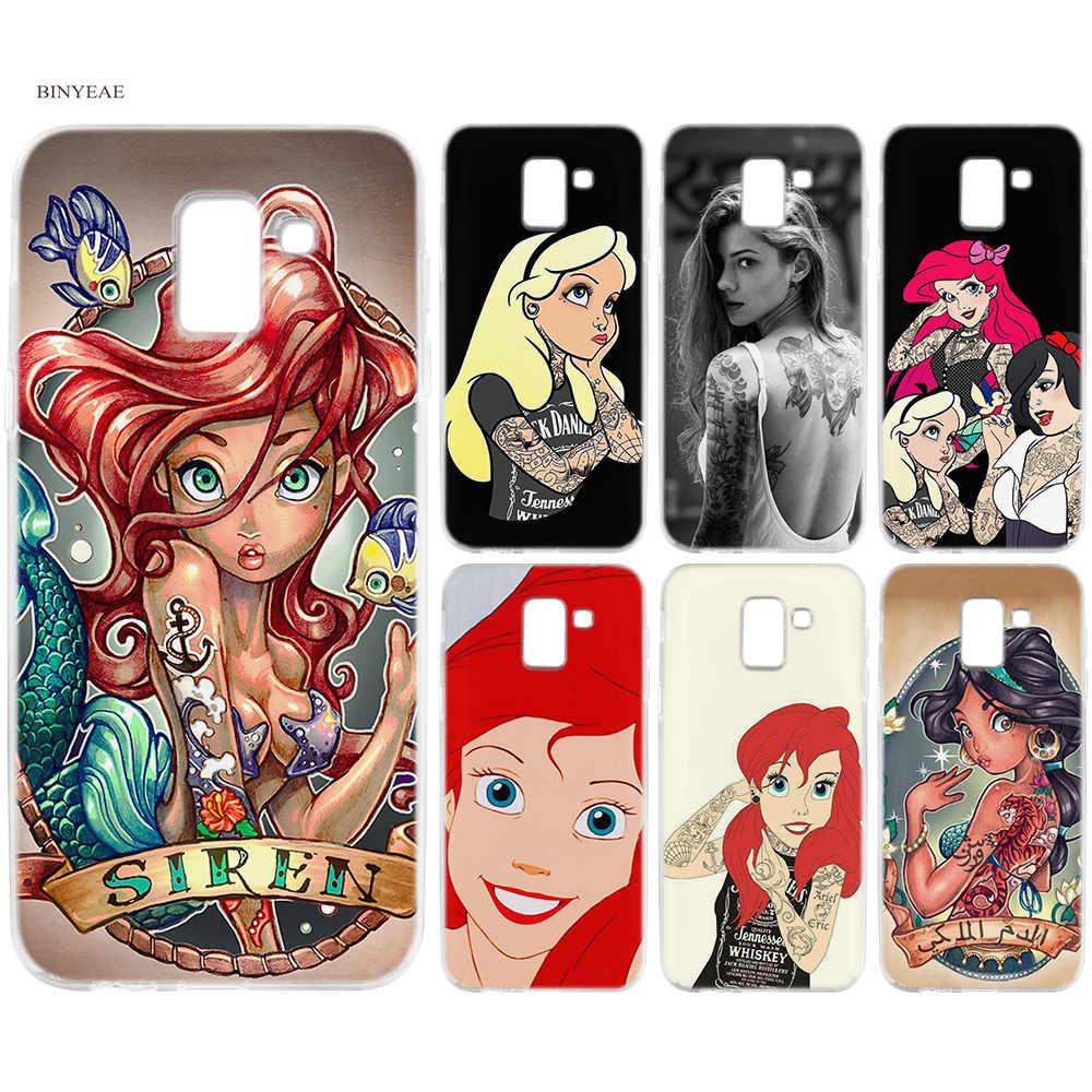 BINYEAE Tattooed Alice Ariel จัสมินซิลิคอน TPU Coque สำหรับ Samsung J6 S8 S9 A6 A8 Plus J4 J8 2018 J3 J5 J7 2017 Capa