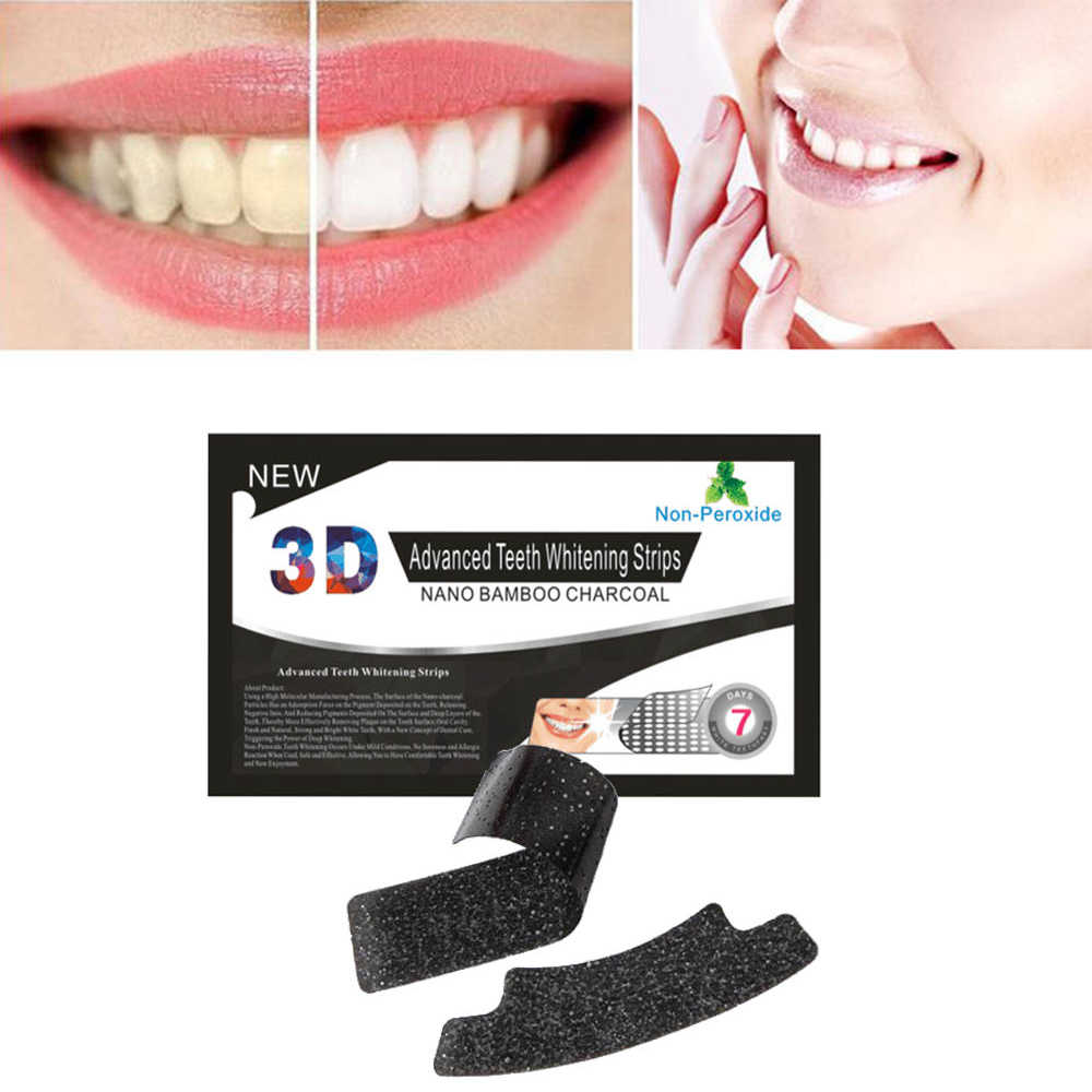 1Pc Portable 3D Teeth Oral Clean Bamboo Charcoal Whiten Patch Mint Flavor Teeth Whitening Strips Dental Sticker For Adults TSLM2