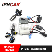 Бесплатная Доставка IPHCAR БИ Ксеноновые Белый Лампы Лампы Фар Комплект 45 Вт AC Балласт 5500 К Ксеноновая Лампа H1 H7 H11 9004 9005 9006 9007