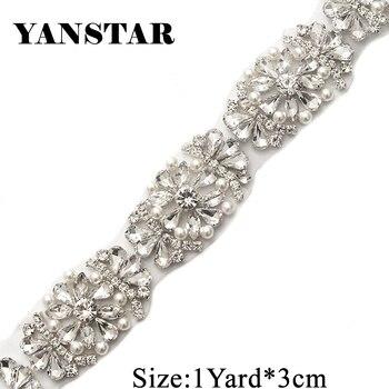YANSTAR 5Yards Bridal Sash Rhinestone Appliques Trim For Wedding Dress Belts Rose Gold Crsytal Iron On Wedding Gown Belt YS886