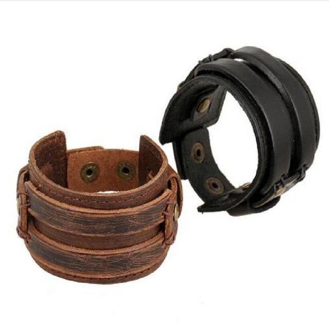 60d7797a167b Punk Rock Johnny Depp Vintage brazaletes de cuero ancho hombres Cool grueso  negro marrón genuino cuero