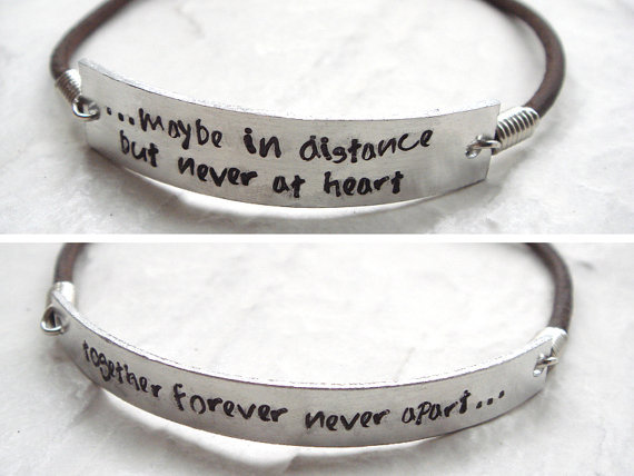 Set Of Two Stamped Leather Bracelet Custom His And Hers Long Distance Matching Friendship Bff S Jewelry In Id Bracelets From