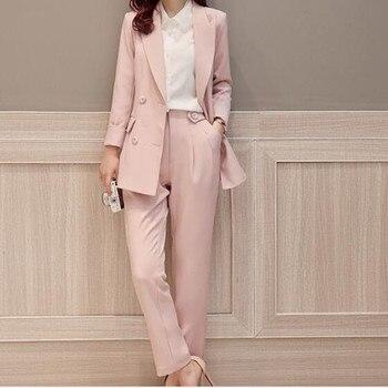 Custom fashion women's ladies suit two-piece suit (coat + wide leg pants) ladies double-breasted long suit ladies business suit
