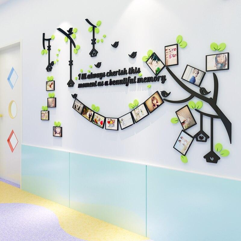 3D ptáci Křišťálový strom rám Akrylové fotografie Nástěnné stereoskopické kreslené dětské pokoje nástěnné samolepky pohovka vchod Foto Nástěnné umění