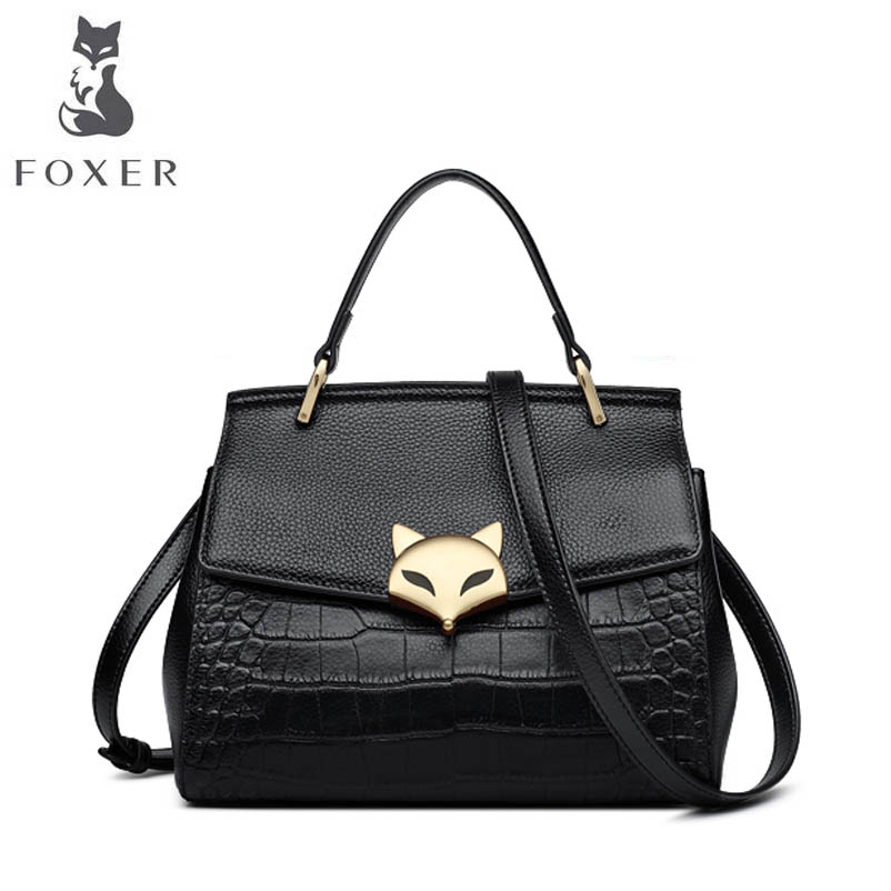 FOXER 2018 New Women Genuine Leather bag designer famous brand Crocodile pattern fashion women leather shoulder bag